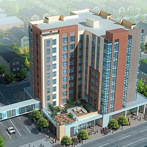 Artists rendering of Misericordia Place, a 10-story building with a skywalk
