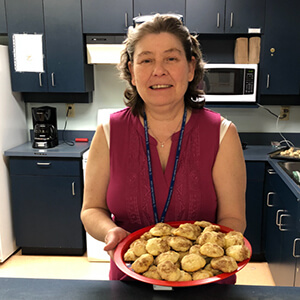 PRIME recreation staffer Shery McManus is helping in other areas of the health centre during COVID-19, and bringing cookies!